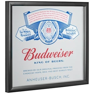 American Art Decor Licensed Budweiser King of Beers Framed Mirror - Multi