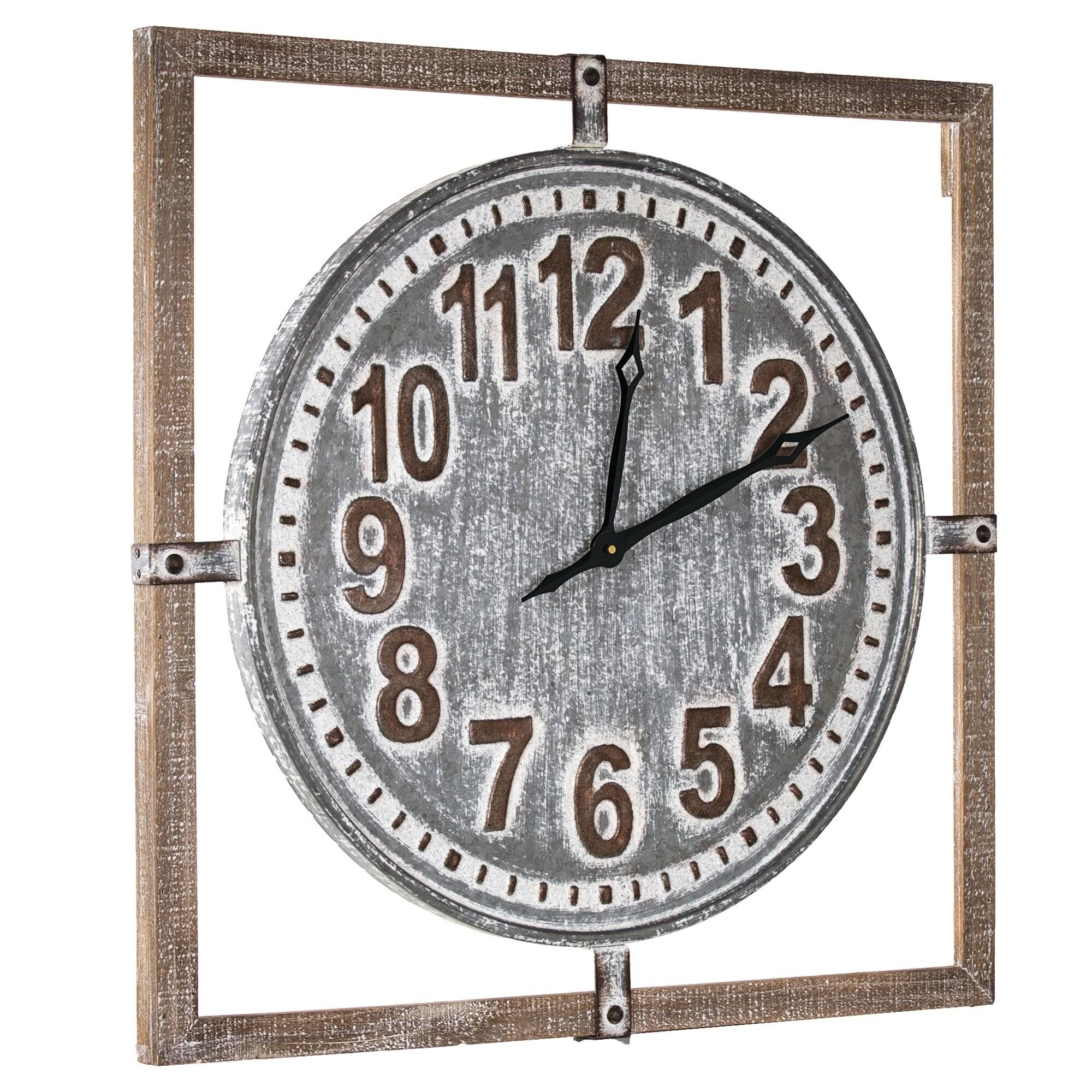 American Art Decor Whitewashed Wood And Metal Farmhouse Clock 27