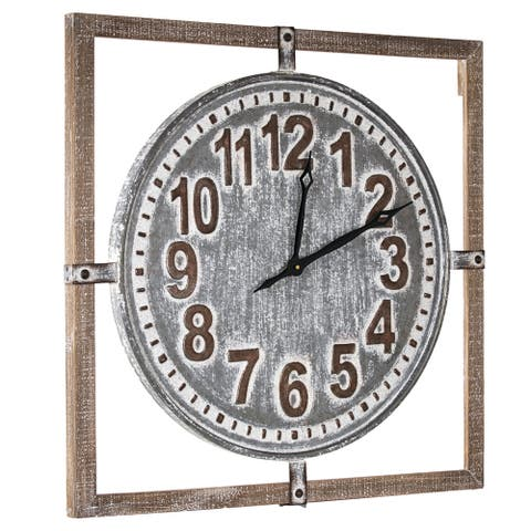 "American Art Decor Whitewashed Wood and Metal Farmhouse Clock (27"")"
