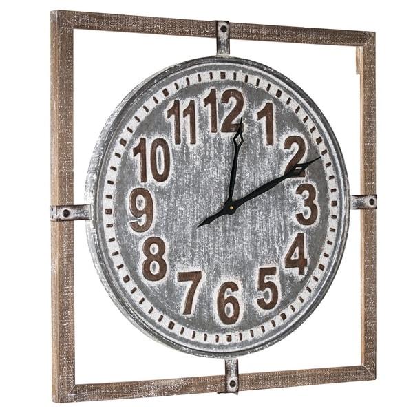 "American Art Decor Whitewashed Wood and Metal Farmhouse Clock (27"")"