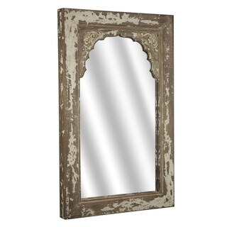 American Art Decor Rustic Shabby Chic Wood Hanging Wall Vanity Mirror - Brown