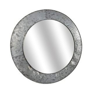 "American Art Decor Galvanized Round Metal Mirror (21.75"") - Grey - A/N"