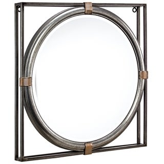 """American Art Decor Framed Metal Hanging Wall Vanity Accent Mirror  (21"""") - Grey - A/N"""