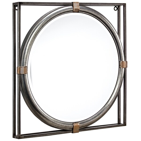 "American Art Decor Framed Metal Hanging Wall Vanity Accent Mirror (21"") - Grey - A/N"
