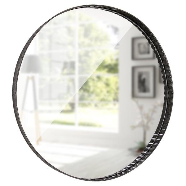 "American Art Decor Galvanized Metal Round Mirror 22"" - Grey/Silver - A/N"