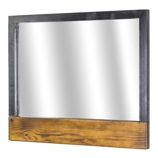 """American Art Decor Rustic Wood Hanging Wall Vanity Mirror (20""""x 24"""") - Brown/Multi - A/N"""