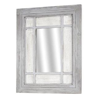 American Art Decor Grey Wooden Window Pane Hanging Wall / Vanity Mirror - White - A/N