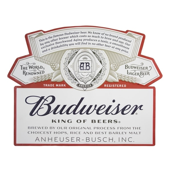 DISCONTINUED - American Art Decor Vintage Budweiser Logo Embossed Metal  Wall Decor