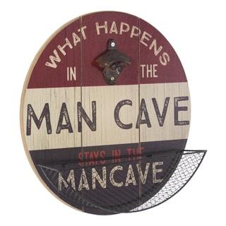 American Art Decor What Happens in the Man Cave Bottle Opener/Catcher