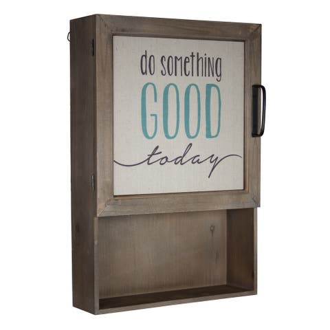 American Art Decor Wood and Canvas Cabinet with Shelves