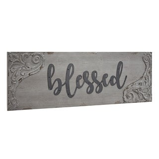 American Art Decor Blessed Wood and Metal Vintage Sign