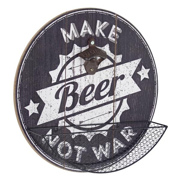 American Art Decor Make Beer Not War Bottle Opener and Cap Catcher