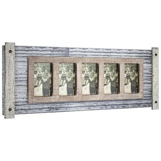 American Art Decor Rustic Wood and Metal Hanging 5 Picture Photo Frame