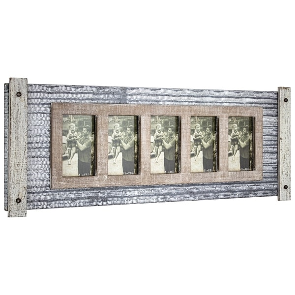 American Art Decor Rustic Wood and Metal Hanging 5 Picture Photo Frame. Opens flyout.