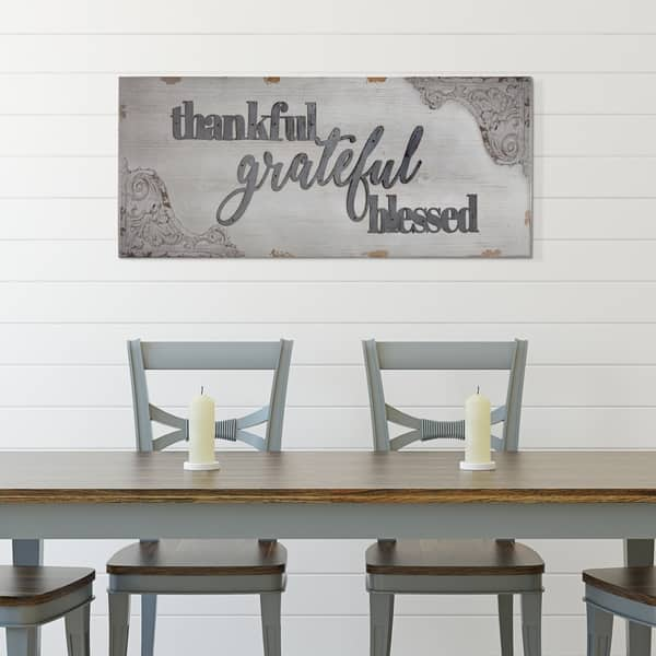 Shop American Art Decor Thankful Grateful Blessed Vintage Wall Decor Sign Overstock 26051990