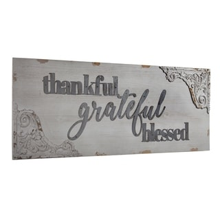 American Art Decor Thankful Grateful Blessed Vintage Wall Decor Sign
