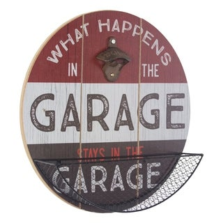 American Art Decor What Happens in the Garage Bottle Opener/Catcher