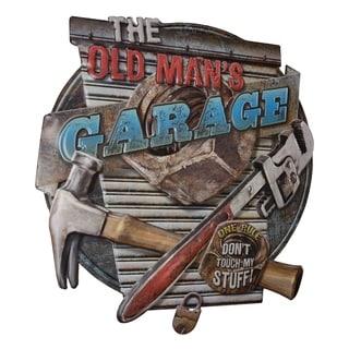 American Art Decor The Old Man's Garage Embossed Metal Wall Decor
