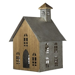 American Art Decor Wood and Metal Church Tabletop Decor
