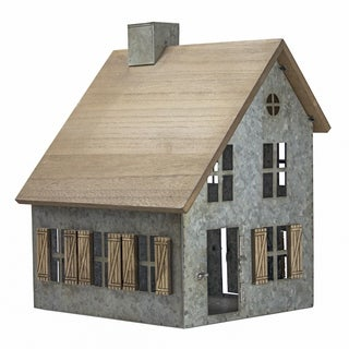 American Art Decor Wood and Metal Schoolhouse Tabletop Decor