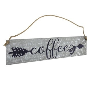 American Art Decor Hanging Metal Coffee Sign with Rope