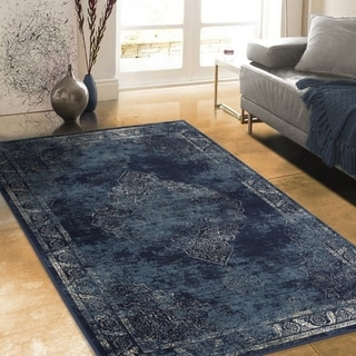 "Allstar Rugs Distressed Midnight Blue and Steel Blue Rectangular Accent Area Rug with Ivory Persian Design - 7' 6"" x 9' 8"""