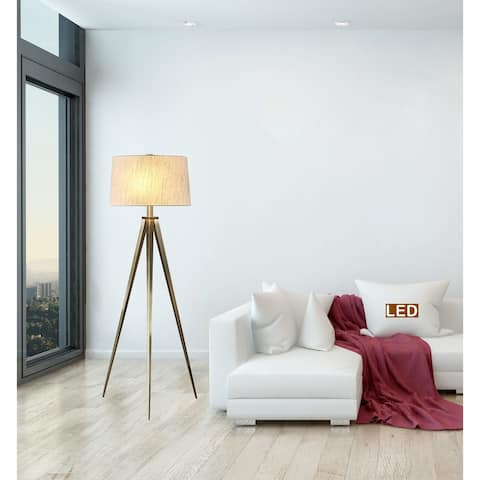 Artiva Hollywood LED Tripod Floor Lamp, 63, Antique Satin Brass