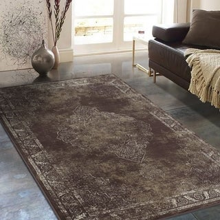 "Allstar Rugs Distressed Chocolate and Mocha Rectangular Accent Area Rug with Ivory Persian Design - 4' 11"" x 7' 0"""