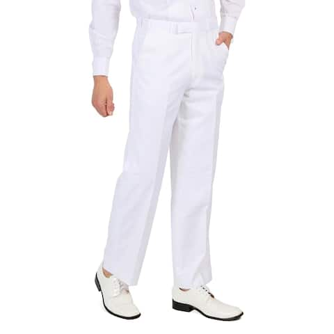 Ferrecci Mens White Regular Fit Formal Unhemmed Tuxedo Dress Pants