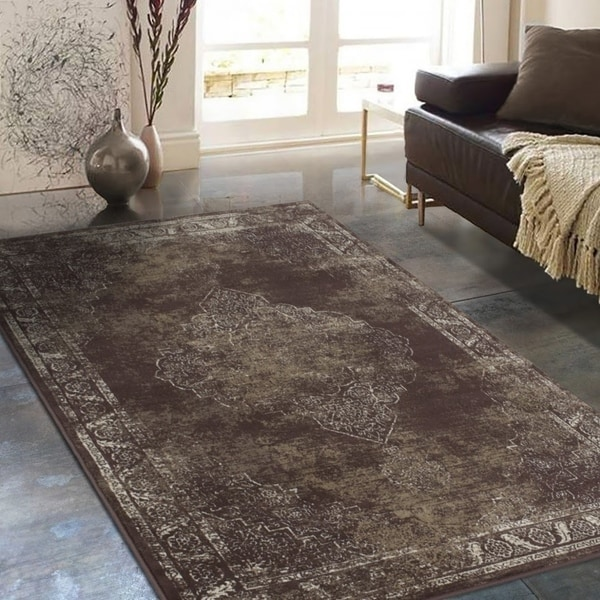 "Allstar Rugs Distressed Chocolate and Mocha Rectangular Accent Area Rug with Ivory Persian Design - 7' 6"" x 9' 8"""