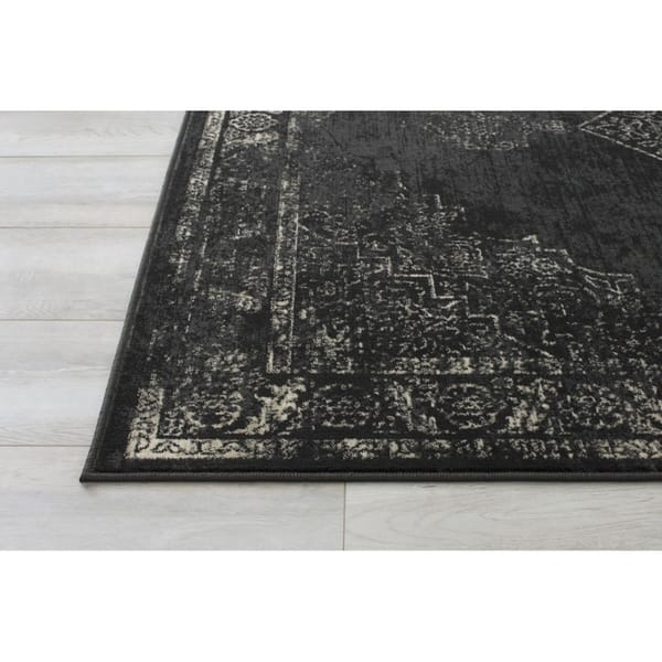 Shop Allstar Rugs Distressed Charcoal Grey And Beige Rectangular