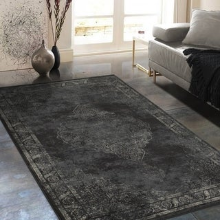 """Allstar Rugs Distressed Charcoal Grey and Beige Rectangular Accent Area Rug with Ivory Persian Design - 7' 6"""" x 9' 8"""""""