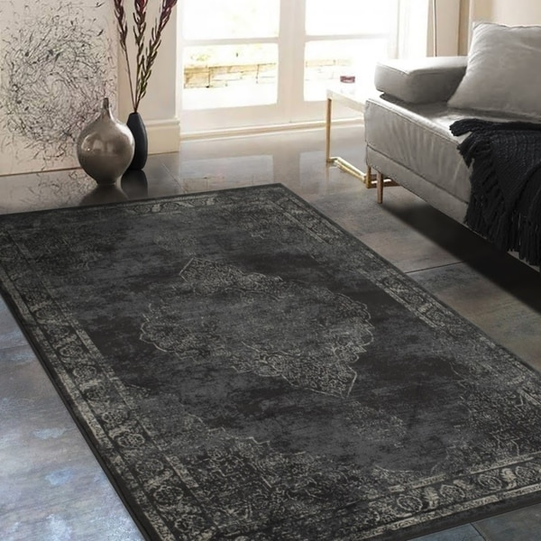 Shop Allstar Rugs Distressed Charcoal Grey And Beige