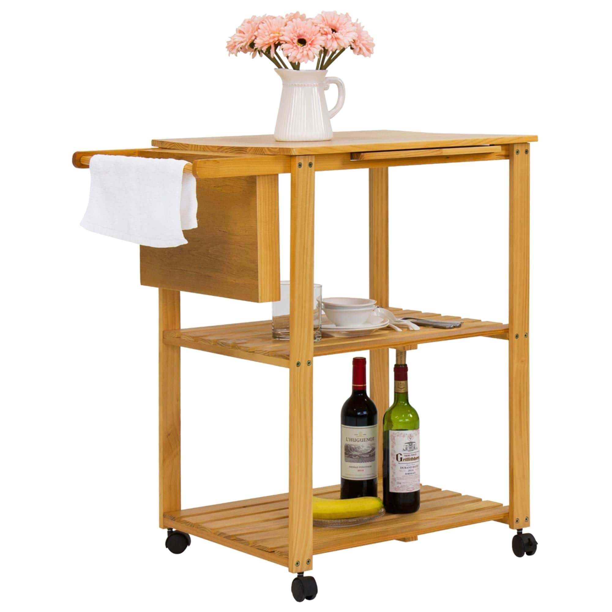 Kinbor 3-Tire Wood Rolling Kitchen Trolley Utility Serving Cart Island w/  Cutting Board