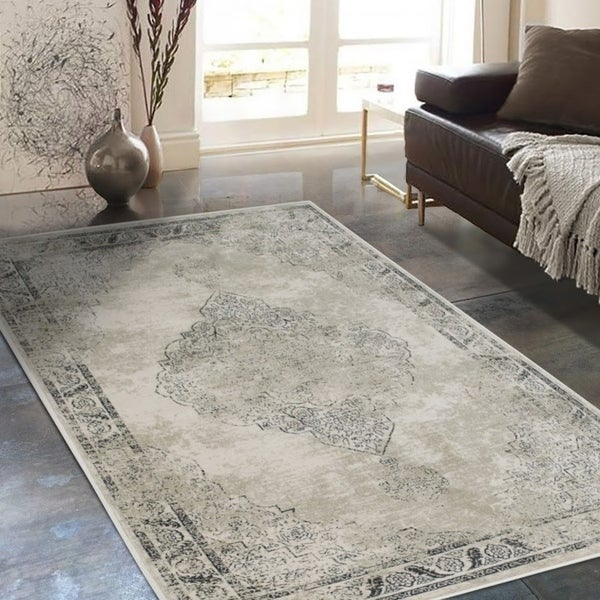 """Allstar Rugs Distressed Ivory and Beige Rectangular Accent Area Rug with Black Persian Design - 7' 6"""" x 9' 8"""""""