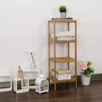 Kinbor 4-Tier Bamboo Bathroom Shelf Towel Rack Storage Shelving