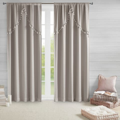 Intelligent Design Mia 100-percent Total Blackout Single Curtain Panel with Attached Scallop Tassel Valance