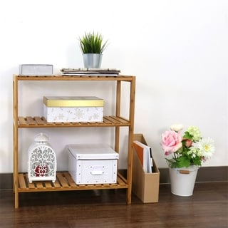 Kinbor 3-Tier Bamboo Bathroom Shelf Plant Flower Stand Tower Rack