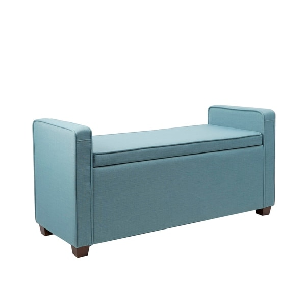 Incredible Shop Imogen Blue Fabric Wood Upholstered Storage Bench Pdpeps Interior Chair Design Pdpepsorg