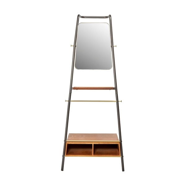 Brady Metal and Wood Leaning Storage Coat Rack with Mirror