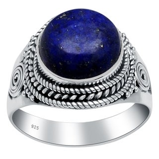 Sterling Silver 4.0 Carat Round Cab Lapis Lazuli Stone Ring By Orchid Jewelry