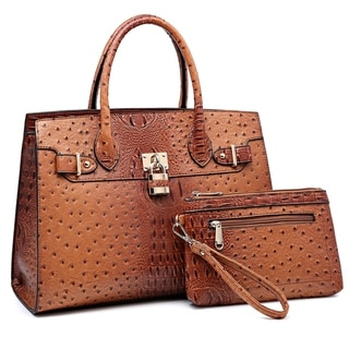 Dasein Faux Leather Padlock Deco Detailed Satchel with Matching Wristlet