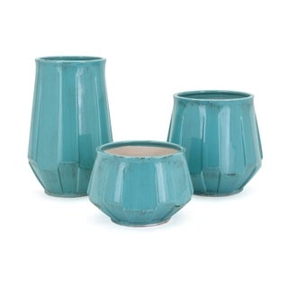 Weathered Glazed Ceramic Vases, Set of Three, Blue