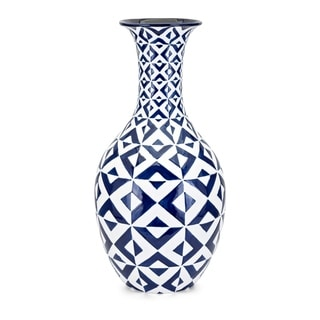 Wide Neck Clay Patterned Floor Vase with Geometric Design, White and Blue