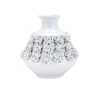 Decorative Ceramic Vase with Flower Motif and Flared top, Small, White