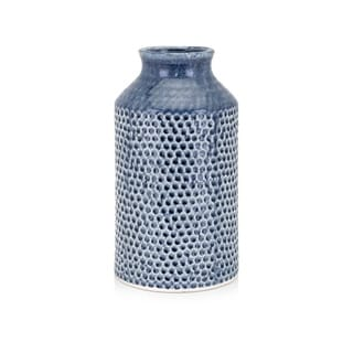 Gloss Glazed Ceramic Small Vase With Texture, Blue