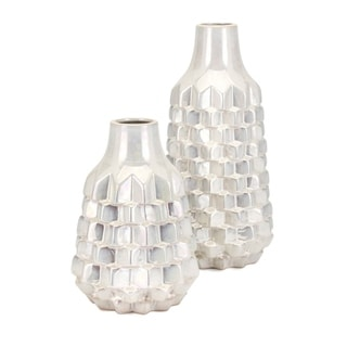 Ceramic Geometric Shaped Vases, Set of Two, White