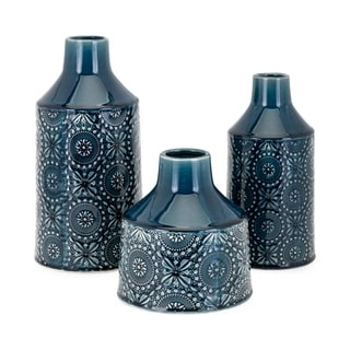 Glazed Floral Finished Ceramic Vases, Set of Three, Blue