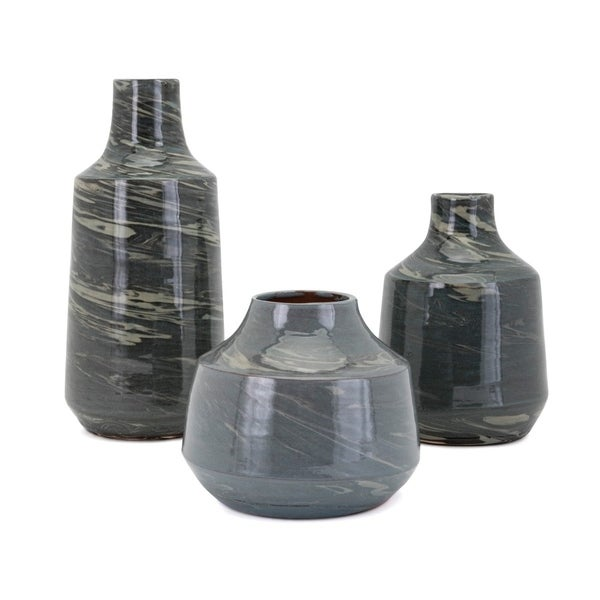 Gorgeous Ceramic Vases With Flowing Pattern, Set of Three, Green