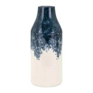 Large Size Ceramic Vase, Beige and Blue